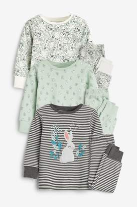 Next Girls Green 3 Pack Embroidered Bunny Snuggle Pyjamas (9mths-8yrs) - Green