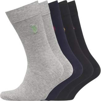 U.S. Polo Assn. Mens Five Pack Socks Grey/Navy/Black