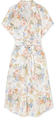 Zimmermann Bowie Floral-print Linen Midi Dress - Cream