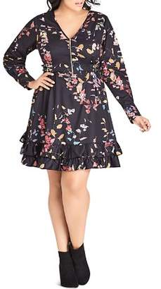 City Chic Plus Sensai Floral Zip-Front Dress