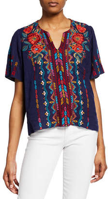 Johnny Was Ornelia Embroidered Short-Sleeve Linen Top