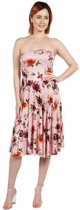 24/7 Comfort Apparel 24Seven Comfort Apparel Nina Pink and Blue FloralSide Slit Dress - Plus