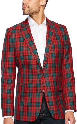 STAFFORD Stafford Tartan Red Green Classic Fit Sport Coat - Big and Tall