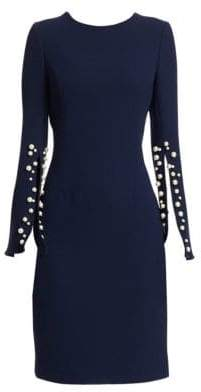Teri Jon by Rickie Freeman Crepe Split-Sleeve Pearl-Trim Wool Sheath Dress