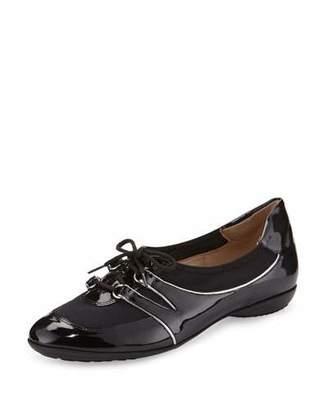 Sesto Meucci Bonnie Stretch Patent Sneaker, Black $250 thestylecure.com