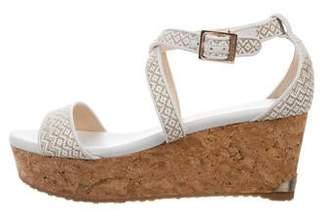 Jimmy Choo Leather Peep-Toe Wedge Sandals