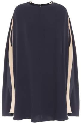 Valentino Silk crepe de chine cape dress