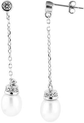 Splendid Pearls Rhodium Plated 7-7.5Mm Pearl & Cz Earrings
