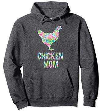 Chicken Mom Colorful Floral Chickens Hoodie