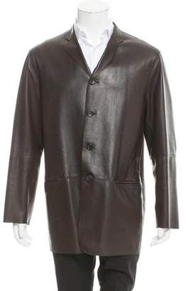 Armani Collezioni Leather Notch-Lapel Jacket