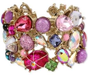 Betsey Johnson Gold-Tone Multi-Stone Statement Bangle Bracelet