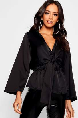 boohoo Hammered Satin Tie Detail Pep Hem Blouse