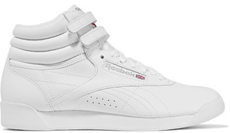 Reebok - Freestyle Leather High-top Sneakers - White $70 thestylecure.com