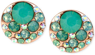 Betsey Johnson Rose Gold-Tone Blue Crystal Stud Earrings