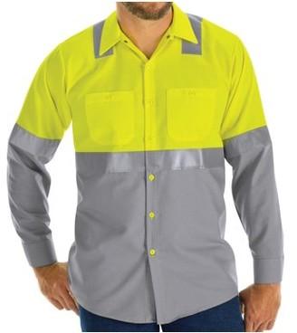 Red Kap Men's Long Sleeve Hi-Visibility Color Block Work Shirt Class 2 Level 2