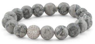Handcrafted In California Grey Jasper Cz Bead Bracelet