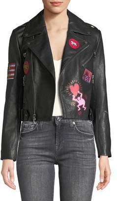 Alice + Olivia Keith Haring x Cody Crop Printed Leather Moto Jacket