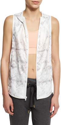 Neiman Marcus Alala Printed Hooded Vest W/Mesh Panels