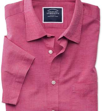 Charles Tyrwhitt Slim fit cotton linen short sleeve bright pink plain shirt