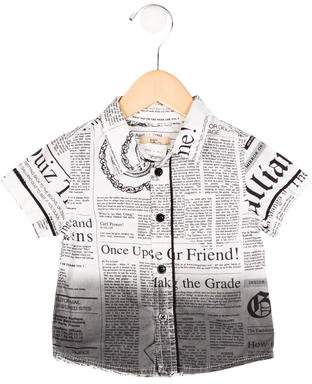 John Galliano Boys' Newspaper Print Button-Up Shirt