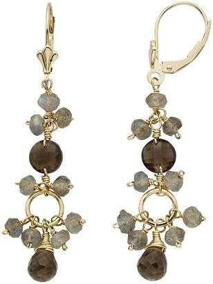 Smoky Quartz & Labradorite 14k Gold Drop Earrings