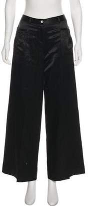 John Galliano Wool-Silk Blend Wide-Leg Pants