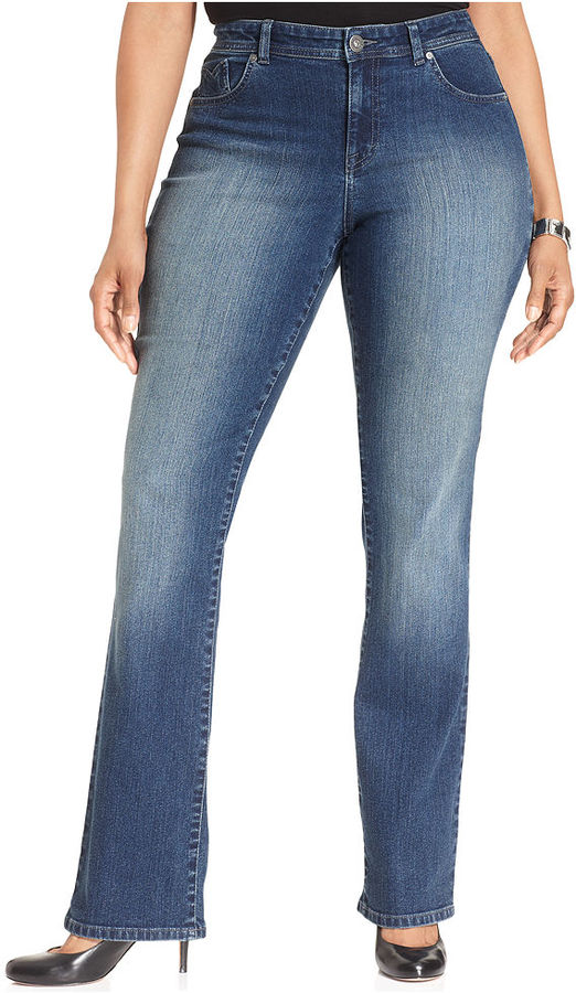 Style&Co. Plus Size Embellished Curvy-Fit Straight-Leg Jeans, Cobalt Wash