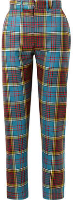 House of Holland Tartan Wool Straight-leg Pants - Blue