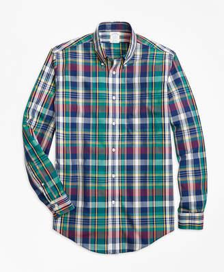 Brooks Brothers Non-Iron Regent Fit Green Bold Plaid Sport Shirt