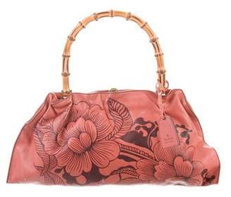 Gucci Leather Floral Bamboo Bag