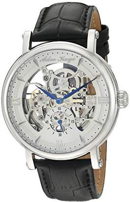 Adee Kaye Men's 'Mecha Collection' Stainless Steel and Leather Automatic Watch