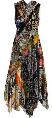 Erdem Crossover Ruffled Floral-Print Velvet Gown