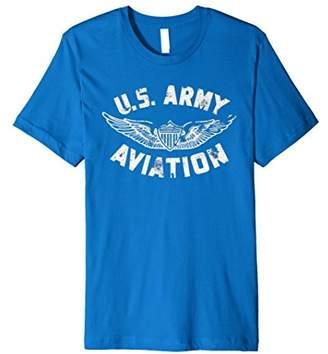 U.S. Army Aviation T-Shirt Cool Distressed Patriotic Top Tee