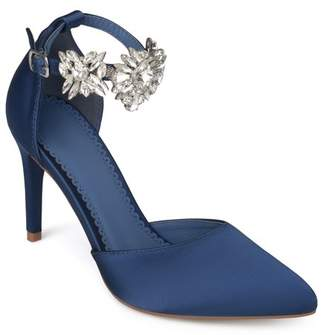Co Brinley Women's Satin Pointed Toe Rhinestone Ankle Strap D'orsay Stiletto Heels