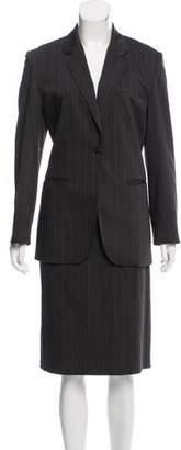 Halston Pinstripe Knee-Length Skirt Suit