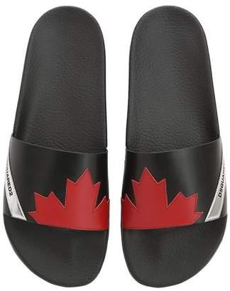 DSQUARED2 Maple Leaf Leather Slide Sandals