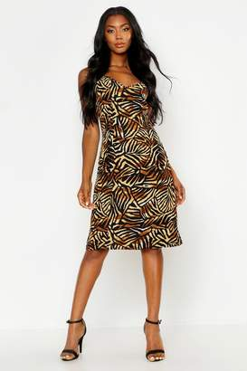 boohoo Jungle Print Cami Wrap Midi Dress