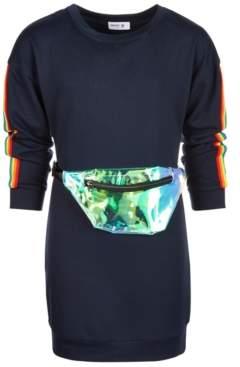 Beautees Big Girls 2-Pc. Rainbow Stripe Sweatshirt Dress & Fanny Pack Set