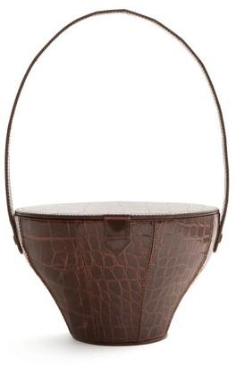 Staud - Alice Crocodile Effect Leather Bag - Womens - Dark Brown