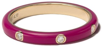 Ef Collection 14kt yellow gold cherry enamel and diamond stack ring