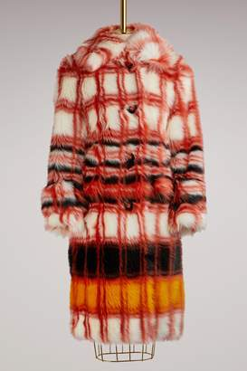Miu Miu Eco Fur Checked Coat