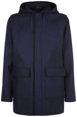 A.P.C. Hooded Wool Blend Parka Coat