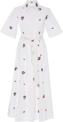 Prabal Gurung M'O Exclusive Short Sleeve Embroidered Shirt Dress
