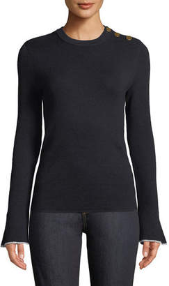 Tory Burch Button-Shoulder Flare-Sleeve Sweater