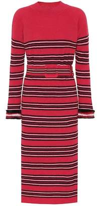Fendi Striped wool and cashmere dress