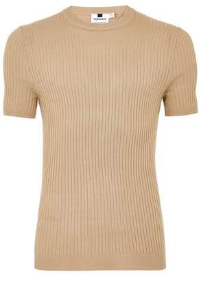Topman Mens Beige Stone Muscle Ribbed Sweater