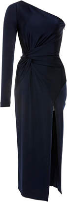 Cushnie Denise One-Shoulder Knotted Stretch-Crepe Midi Dress
