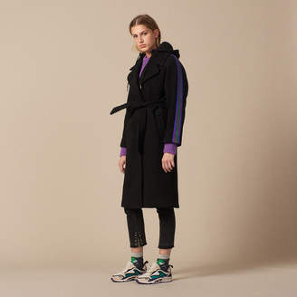 Sandro Hooded wool pea coat