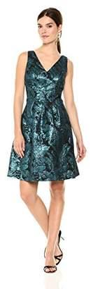 Nine West Women's Slvless Box Pleat Dress with Double V Neckline- Metal Jacquard