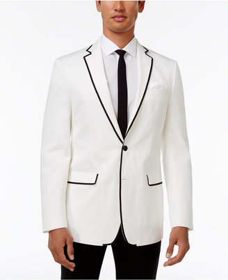 Tallia Men's Slim-Fit White Contrast-Trim Cotton Dinner Jacket $350 thestylecure.com